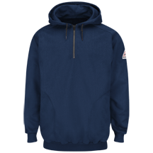 Pullover Hooded Fleece Sweatshirt with 1/4 Zip - Cotton/Spandex Blend