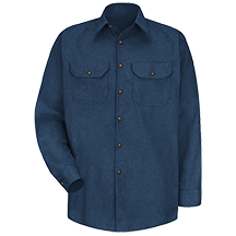 Long Sleeve Heathered Poplin Uniform Shirt