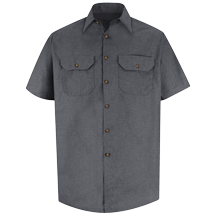 Short Sleeve Heathered Poplin Uniform Shirt