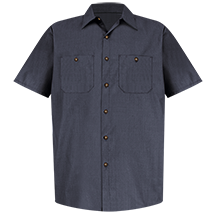 Short Sleeve Geometric Microcheck Work Shirt