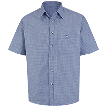 Short Sleeve Mini-Plaid Uniform Shirt