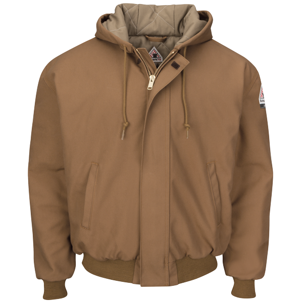 Brown Duck Hooded Jacket with Knit Trim