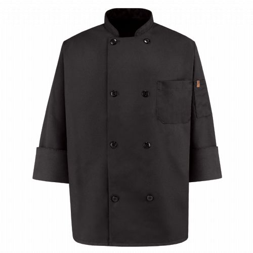 Product Shot - Eight Pearl ButtonBlack Chef Coat
