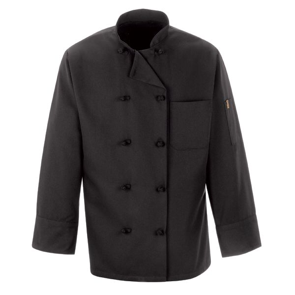 Spun Poly Black Chef Coat
