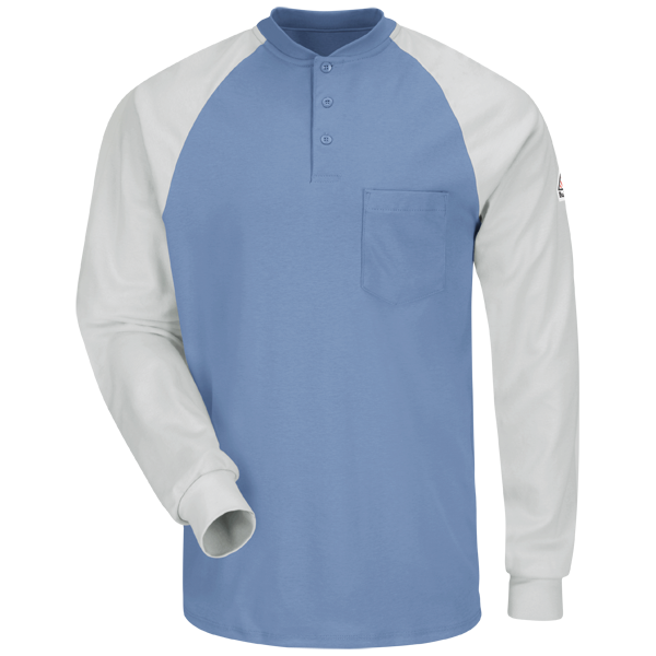 Long Sleeve Color-Block Tagless Henley Shirt - EXCEL FR®