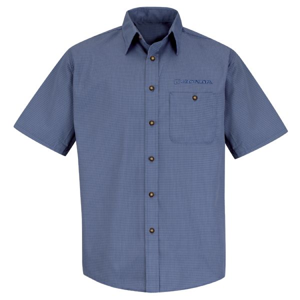 Honda® Men's Short Sleeve Mini-Plaid Uniform Shirt