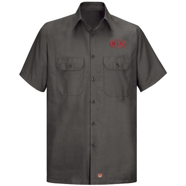 Kia® Men'sShort Sleeve Solid Ripstop Shirt