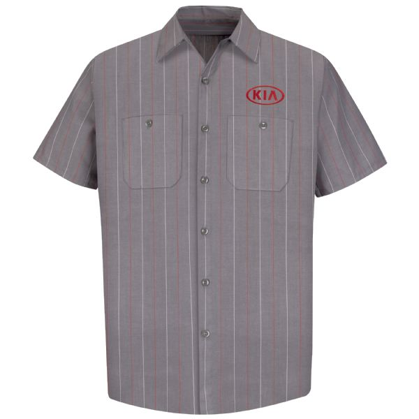 Kia® Men's Short Sleeve Industrial Stripe Work Shirt