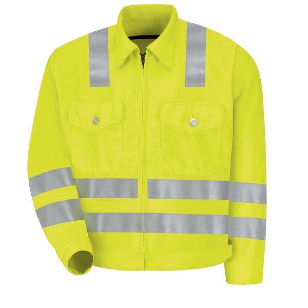 "Product Shot - Hi-Visibility Ike Jacket - Class 3 Level 2 ""X"" Striping Configuration"