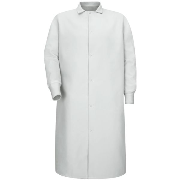Product Shot - Gripper-Front Spun Polyester Pocketless Butcher Coat with Knit Cuffs