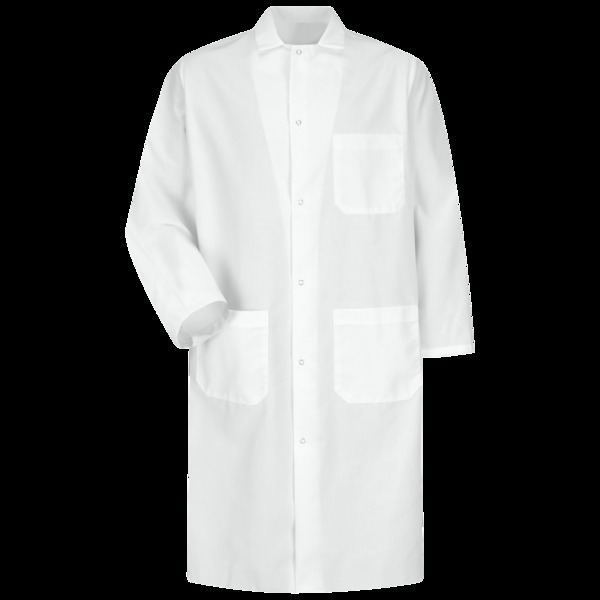 Product Shot - Gripper-Front Spun Polyester Butcher Coat