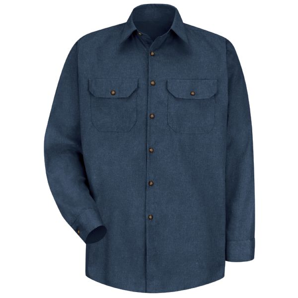 Men's Long Sleeve Heathered Poplin Uniform Shirt