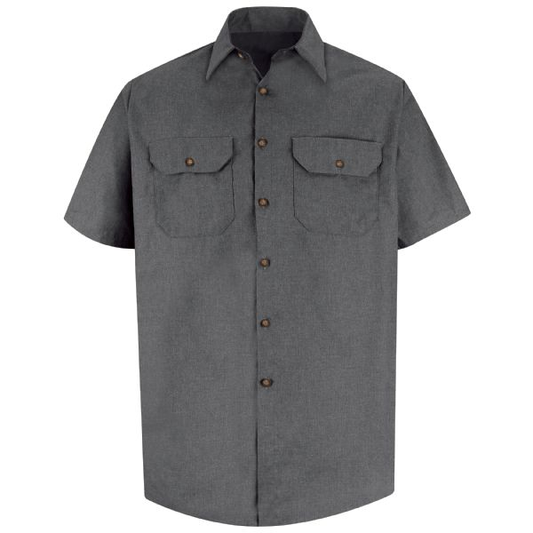 Product Shot - Men's Short Sleeve Heathered Poplin Uniform Shirt