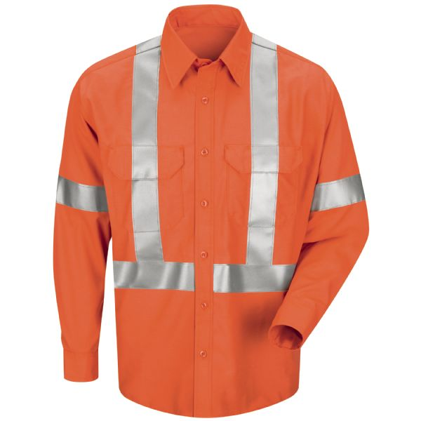 Product Shot - Men's Long Sleeve Poplin Dress Shirt with CSA Compliant Reflective Trim