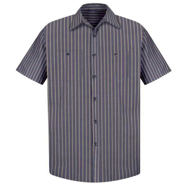 Product Shot - Men's Short Sleeve Industrial Stripe Work Shirt