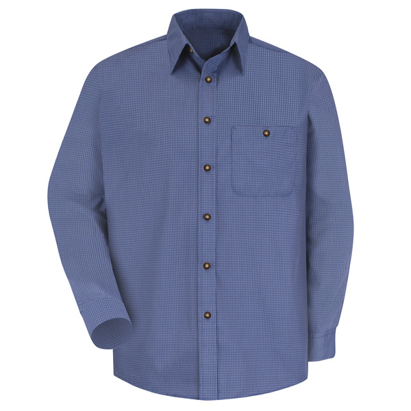 Product Shot - Men's Long Sleeve Mini-Plaid Uniform Shirt