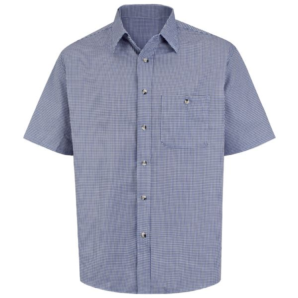 Men's Short Sleeve Mini-Plaid Uniform Shirt