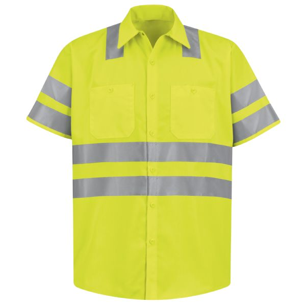 "Product Shot - Hi-Visibility Work Shirt - Class 3 Level 2 ""X"" Striping Configuration"