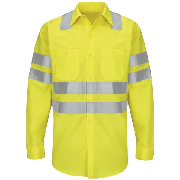 "Product Shot - Hi-Visibility Ripstop Work Shirt - Class 3 Level 2 ""X"" Striping Configuration"