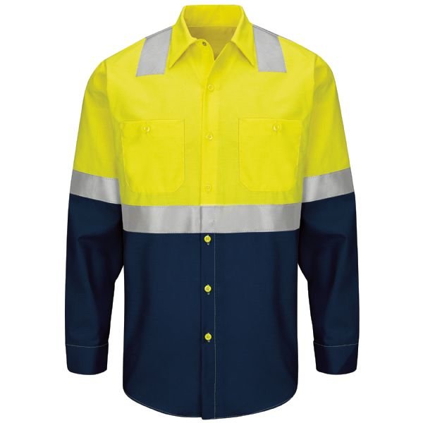 Hi-Visibility Long Sleeve Colorblock Ripstop Work Shirt - Type R, Class 2
