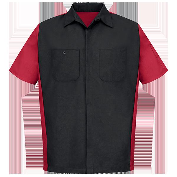 Men 39 S Two Tone Crew Shirt Performance Workwear Red Kap