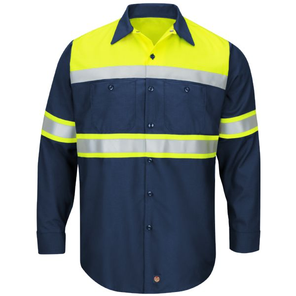 Product Shot - Hi-Visibility Long Sleeve Colorblock Ripstop Work Shirt - Type O, Class 1