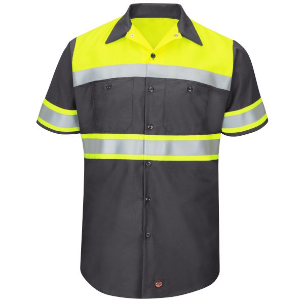 Product Shot - Hi-Visibility Short Sleeve Colorblock Ripstop Work Shirt - Type O, Class 1