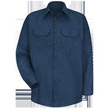 Long Sleeve Heathered Poplin UniformShirt