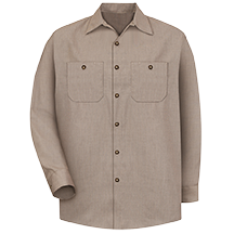 Long Sleeve Geometric Microcheck Work Shirt