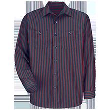 Long Sleeve Industrial Stripe Work Shirt