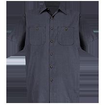 Short Sleeve Geometric Microcheck Work Shirt