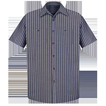 Short Sleeve Industrial Stripe Work Shirt