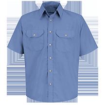 Short Sleeve Solid Dress Uniform Shirt