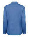 French Blue - Women's Long-Sleeve Stretch Oxford Shirt - Back