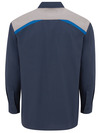 Dark Navy (Dark Navy/Smoke/Royal Blue) - Men's Tricolor Long-Sleeve Shop Shirt - Back