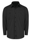 Black - Men's Industrial WorkTech Ventilated Long-Sleeve Work Shirt With Cooling Mesh - Front