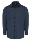 Dark Navy - Men's Industrial WorkTech Ventilated Long-Sleeve Work Shirt With Cooling Mesh - Front