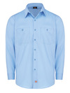 Light Blue - Men's Industrial WorkTech Ventilated Long-Sleeve Work Shirt With Cooling Mesh - Front