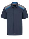 Men's Tricolor Short-Sleeve Shop Shirt - Front