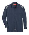 Dark Navy/Smoke - Men's Performance Long-Sleeve Team Shirt - Front