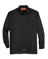 Black - Men's Solid Ripstop Long-Sleeve Shirt - Front
