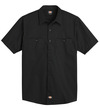 Black - Men's Industrial WorkTech Ventilated Short-Sleeve Work Shirt With Cooling Mesh - Front