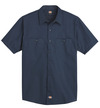 Dark Navy - Men's Industrial WorkTech Ventilated Short-Sleeve Work Shirt With Cooling Mesh - Front