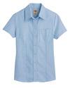 Light Blue - Women's Short-Sleeve Stretch Oxford Shirt - Front