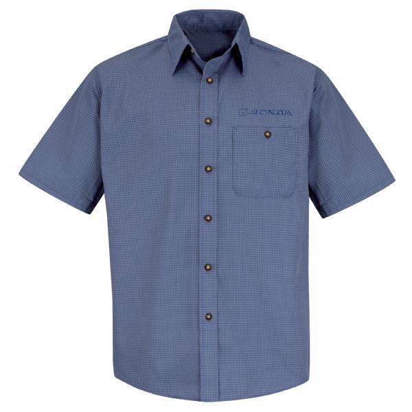 Honda® Men'sShort Sleeve Mini-Plaid Uniform Shirt