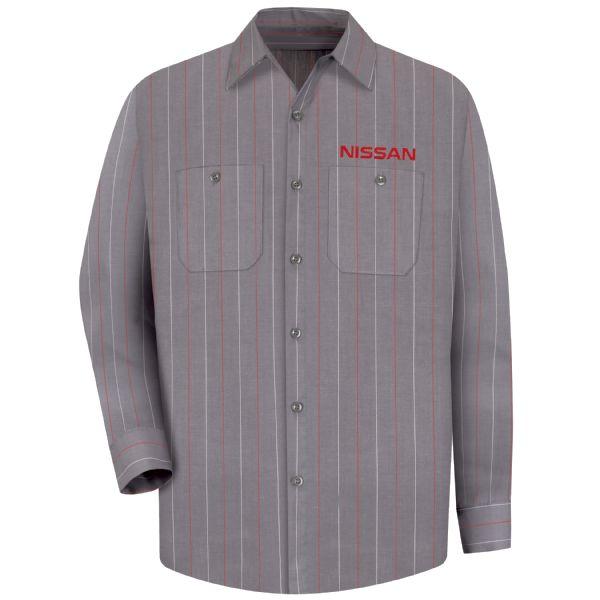 Nissan® Men's Long Sleeve Industrial Stripe Work Shirt