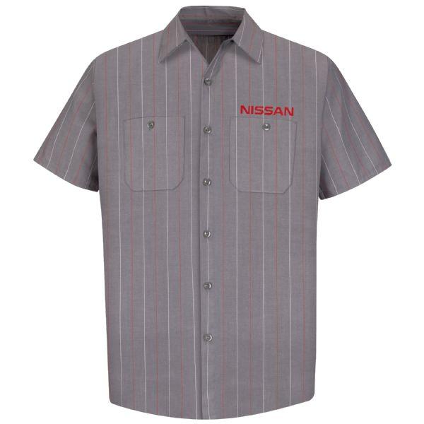 Nissan® Men's Short Sleeve Industrial Stripe Work Shirt