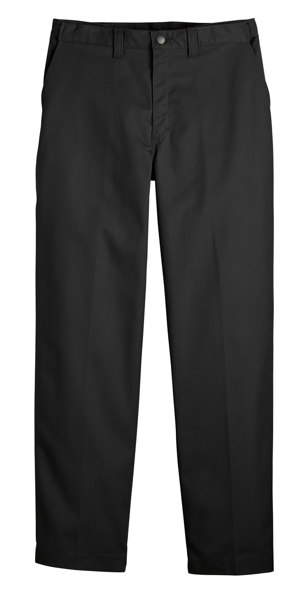 Black - Men's Premium Industrial Flat Front Comfort Waist Pant - Front
